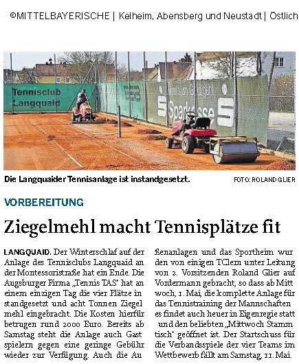 Pressbericht der Mittelbayrischen Zeitung